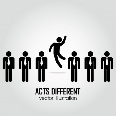 one person acting different in a group on people on white background