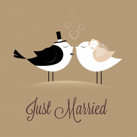 Foto de two birds in love Just married on brown background - Imagen libre de derechos
