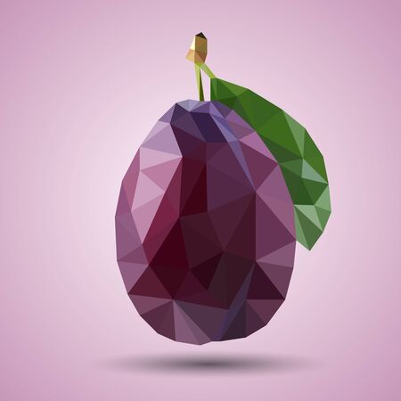 Illustration for Polygonal juicy purple plum with green leaf. Realistic vector. Low-poly style - Royalty Free Image