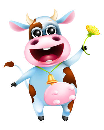 Illustration pour Cute cartoon emotional cow with golden bell and yellow flower - image libre de droit