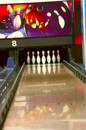 Bowling pins on lane 8