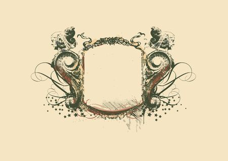 Decorative   frame   with heraldic ornament and sculptural elements on grunge background.  illustration