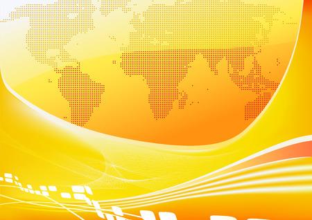 Vector illustration of stylised orange world map background