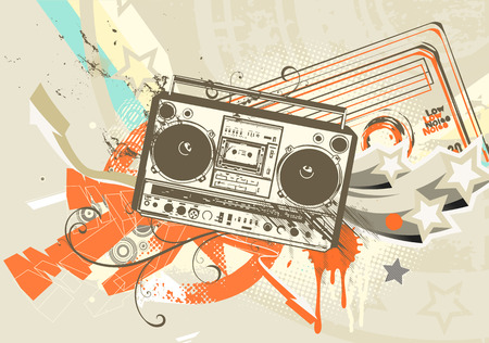 Vector illustration of Grunge styled urban background in graffiti style with cool Boom box.