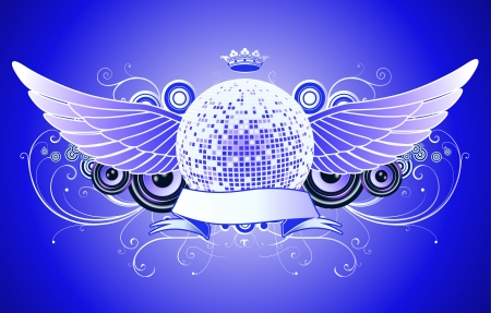 Vector illustration of shiny abstract party design with disco ball and ribbon