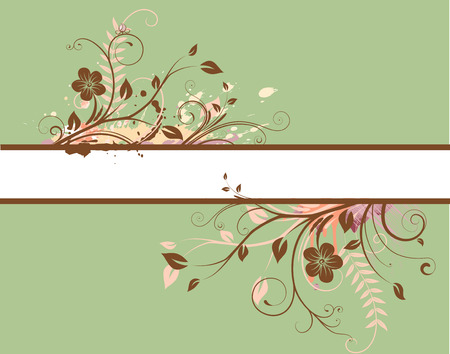 Vector illustration of green Floral Decorative banner