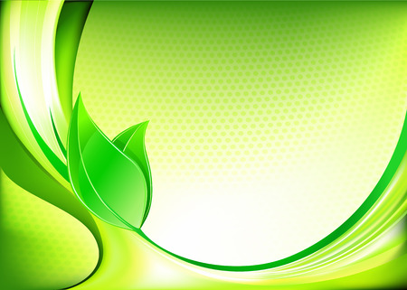 illustration of  fresh spring abstract background with green leaves