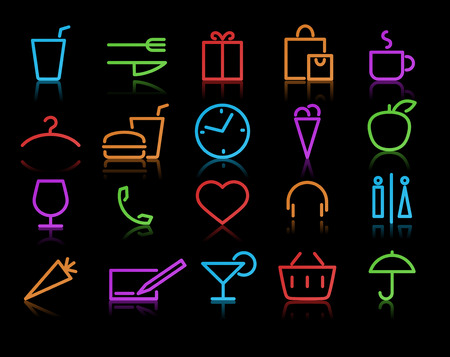 illustration of color neon original style life Icon Set