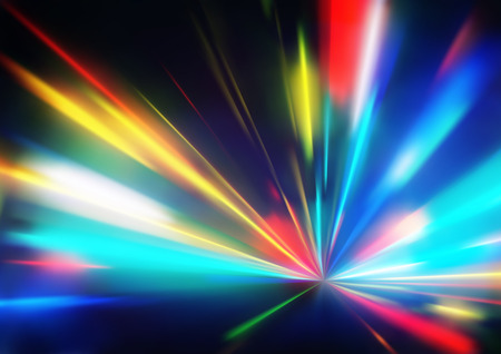 Illustration pour Vector illustration of abstract background with blurred magic neon color light rays  - image libre de droit