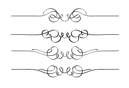 Vector set of decorative swirl ornament page rules