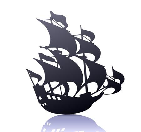 cool  silhouette of retro sailing ship