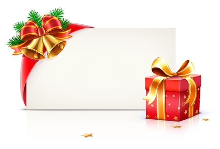 Illustration pour illustration of shiny red gift ribbon wrapped around a rectangle like a present or letter with Christmas elements - image libre de droit