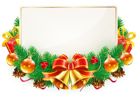 Vector illustration of Christmas decorative frame with evergreen branches,red bow, ribbons and golden bellsのイラスト素材