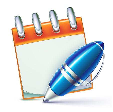 Illustration pour illustration of funky elegant ballpoint pen  with cool notebook - image libre de droit