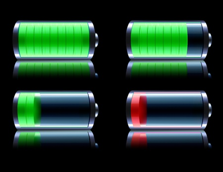 Vector illustration of four detailed glossy battery level indicator icons on black reflective background