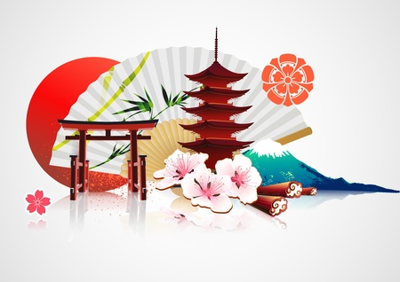 illustration of abstract styled Decorative Traditional Japanese backgroundの素材 [FY31011576407]