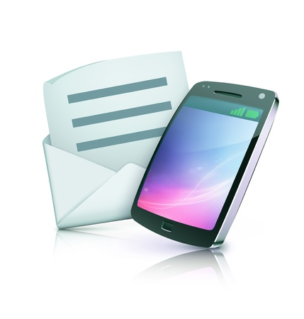 illustration of cool detailed cell phone icon with open envelope