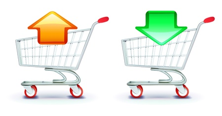 icons set of shopping carts containing in and out arrows