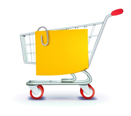 illustration set of shopping concept with shopping cart and yellow paper note list