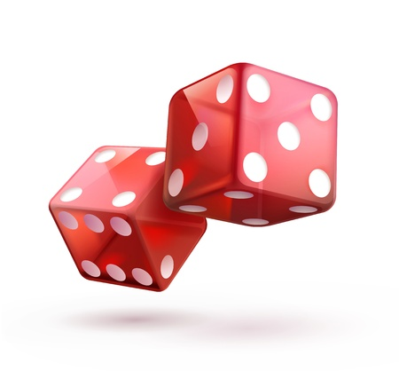 illustration of shiny red dices on the white  background.