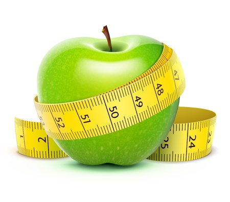 illustration of Green apple with yellow measuring tape