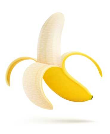 Illustration pour illustration of half peeled banana isolated on a white background - image libre de droit