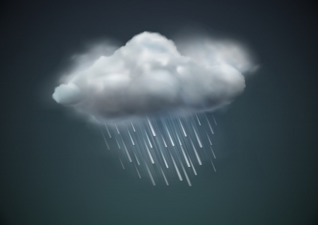 illustration of cool single weather icon - cloud with heavy fall rain in the dark sky