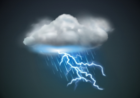 illustration of cool single weather icon - cloud with heavy fall rain and lightning in the dark skyのイラスト素材