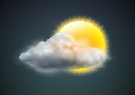 Illustration for illustration of cool single weather icon - sun with cloud floats in the dark sky - Royalty Free Image