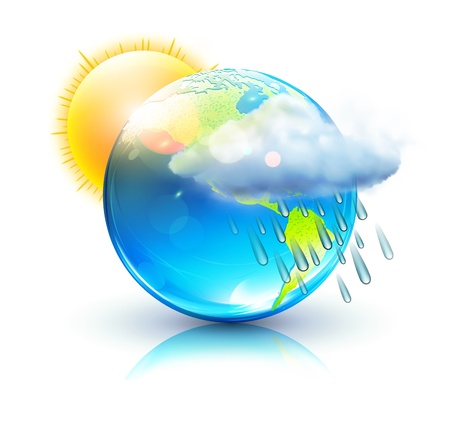 Illustration for illustration of cool single weather icon &acirc,%uFFFD%uFFFD blue globe with sun, raincloud and raindrops  - Royalty Free Image