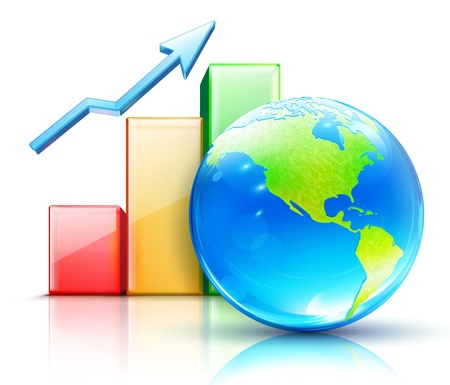 Vector illustration of global business concept with finance graph and blue glossy globe showing the Americas