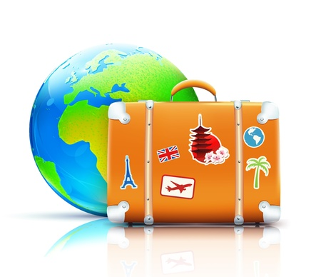 Illustration pour Vector illustration of global travel concept with funky retro suitcase and cool glossy globe - image libre de droit