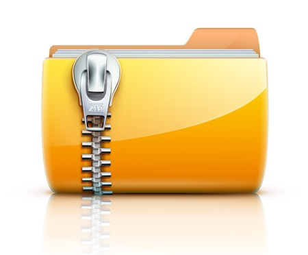 illustration of yellow interface computer zip folder icon