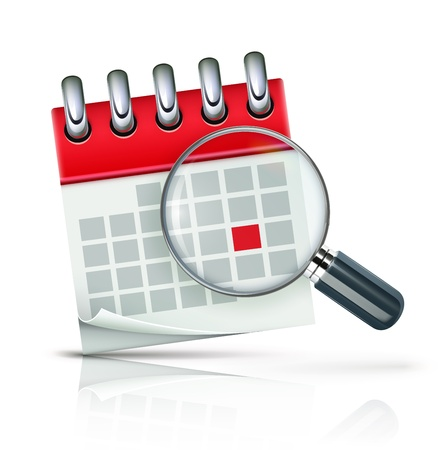 illustration of search concept with calendar icon and magnifying glass