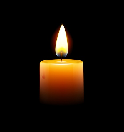 Vector illustration of yellow candle on black background