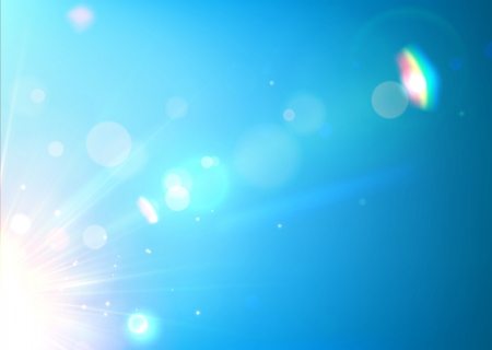 illustration of soft blue abstract background with bokeh, lens flare and light streaks