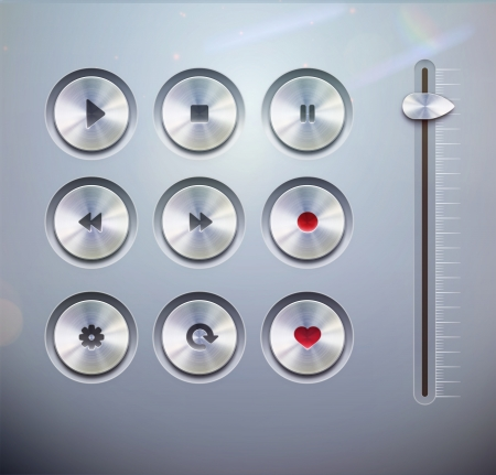 Vector illustration set of the detailed UI elements for media player buttons and slider in metallic style  Good for your websites, blogs or applications