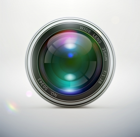illustration of a single detailed camera lens icon isolated on soft background