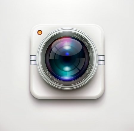 illustration of a single detailed security camera icon isolated on soft background