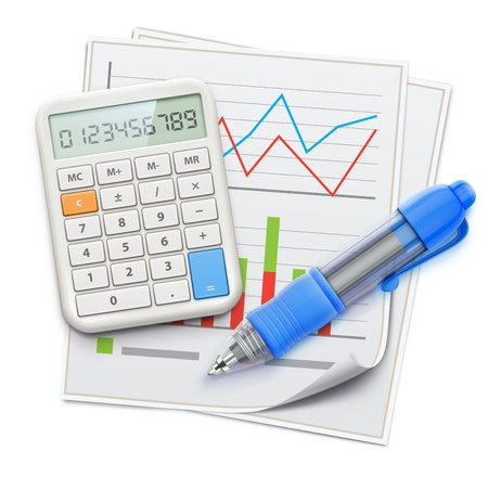 Vector illustration of business concept with finance graphs, blue ballpoint pen and electronic calculator
