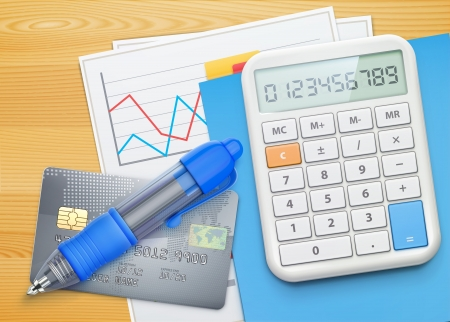 illustration of business concept with finance graphs, credit card, blue ballpoint pen and electronic calculator