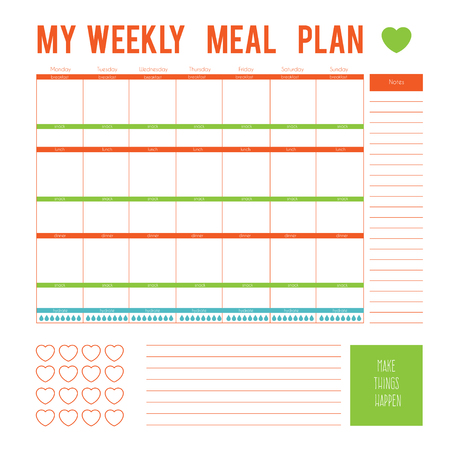Meal Plan for a week, calendar page. Vector printable boxes, half boxes, in flat colors for planners, Printable to do pages for life planner. Diet plan page
