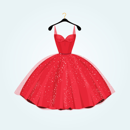 Ilustración de Red gorgeous party dress. Vector illustration - Imagen libre de derechos