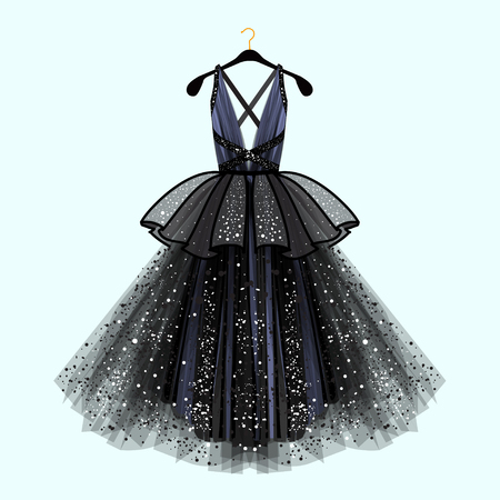 Ilustración de Gorgeous party dress. Party dress with fancy decor.Fashion illustration - Imagen libre de derechos
