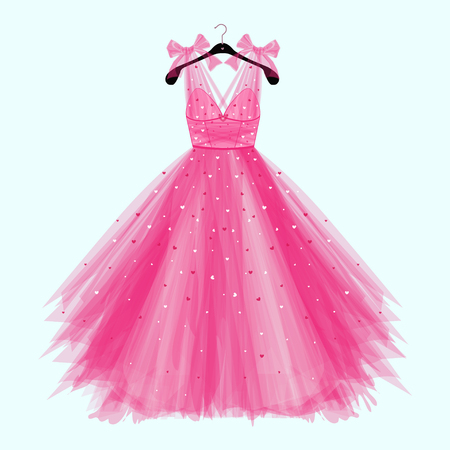 Illustration pour Pink birthday party dress with bow. Fashion illustration for invitation card - image libre de droit