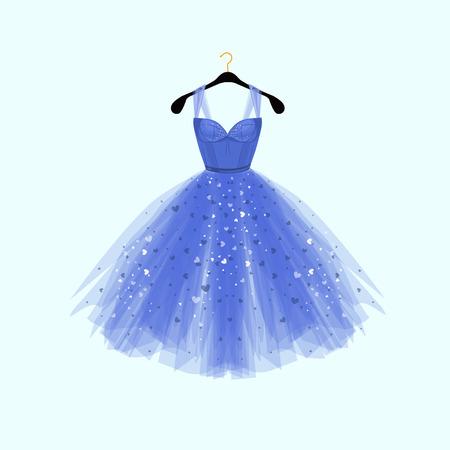 Ilustración de Beautiful blue dress for special event. Vector Fashion illustration - Imagen libre de derechos