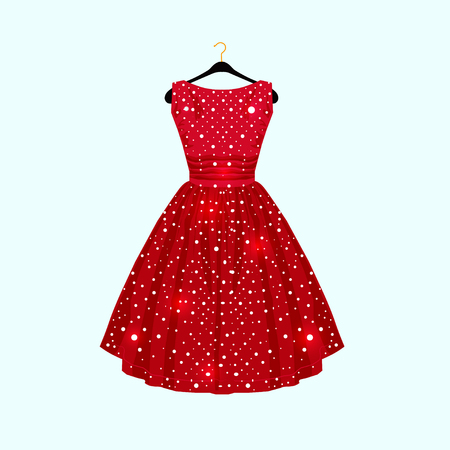 Illustration pour Red dress with white dots for party card. Vector Fashion illustration - image libre de droit