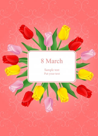 vector greeting card with bouquet of red tulips, may be used as a Women s Day or Saint Valentine s backdrop