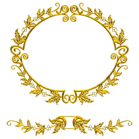 isolated gold decorative frame on the white background