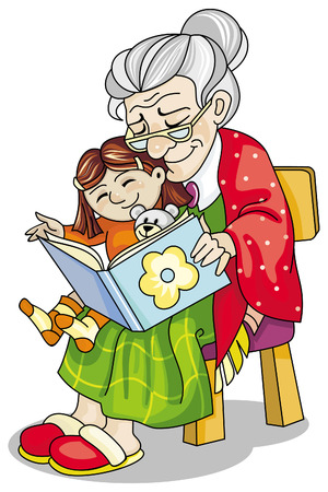 Mature woman reading a book to her little granddaughter
